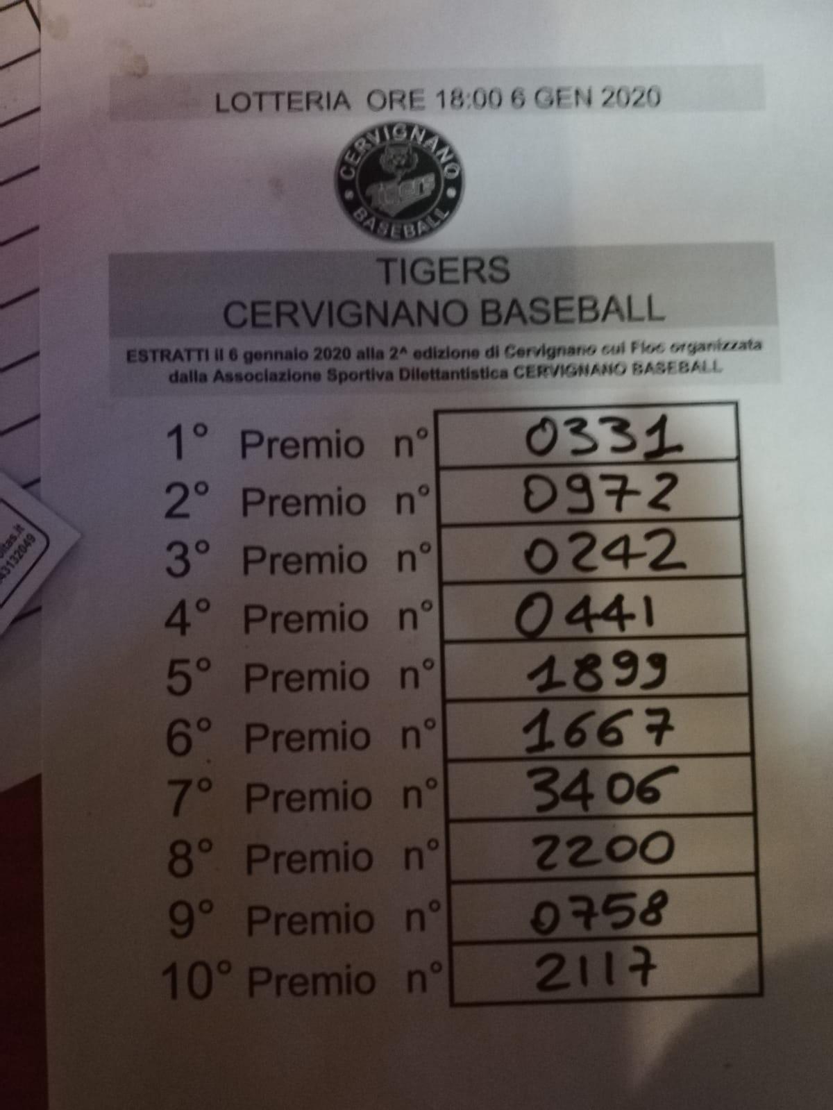 estrazione lotteria Cervignano Tigers befana 2020